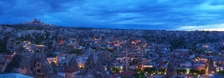 View to the Goreme town at late Royalty Free Stock Image