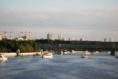 View to Gorky Park and Pushkinskaya embankment, Moscow Royalty Free Stock Photo