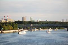 View to Gorky Park and Pushkinskaya embankment, Moscow Royalty Free Stock Photography