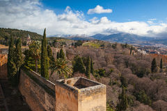 View to Granada town from Alhambra palace Royalty Free Stock Photo