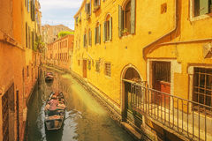 View to the grand canal and Academy in Venice stock images