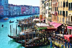 View to Grand Canal from Rialto bridge, Venice Stock Image