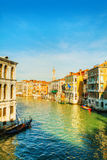 View to Grande Canal in Venice from the Rialto bridge Royalty Free Stock Photography