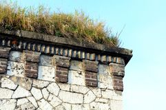 Grass on roof of a fortress tower Royalty Free Stock Images