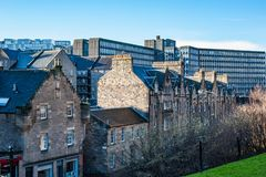 A view to Grassmarket Street with typical medieval houses in Edi. Nburgh, Scotland Stock Photography