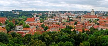 View to the green Vilnius old city at summer time Royalty Free Stock Photos