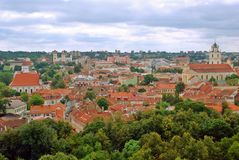 View to the green Vilnius old city at summer time Stock Photo