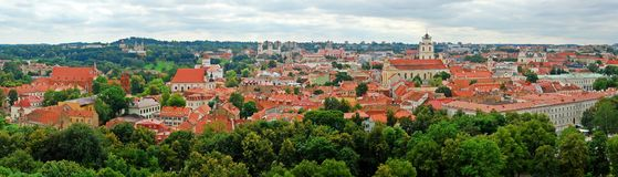View to the green Vilnius old city at summer time Royalty Free Stock Photo