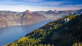 View to Grosser, Kleiner Mythen, Lake Lucerne  and Weggis village from Klewenalp Swiss Alps, Central Switzerland stock footage