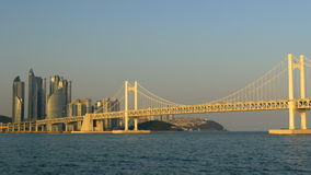 View to Gwangan Bridge in Busan City , South Korea in sunset lights stock video footage