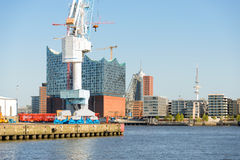 View to the HafenCity from the harbor side Hamburg Stock Image