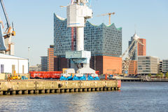 View to the HafenCity from the harbor side Hamburg Royalty Free Stock Photography