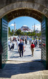 The view to Hagia Sophia from the courtyard of Blue Mosque in Is Royalty Free Stock Image