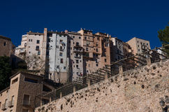 View to hanging houses of Cuenca old town.  Example of a medieva Royalty Free Stock Photo
