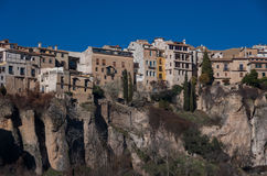 View to hanging houses of Cuenca old town.  Example of a medieva Royalty Free Stock Image
