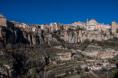View to hanging houses of Cuenca old town.  Example of a medieva Royalty Free Stock Photos