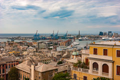 View to harbor of Genoa, Italy. Aerial view to a harbor of Genoa, Italy Royalty Free Stock Photos