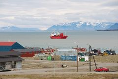 View to the harbor of Longyearbyen, Norway. Royalty Free Stock Photo
