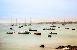 View to harbor village Corralejo in Fuerteventura with boats Stock Image