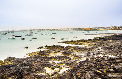 View to harbor village Corralejo in Fuerteventura with boats Royalty Free Stock Photography