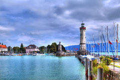 View to the harbour on the island of Lindau at the Lake Constance Stock Photo
