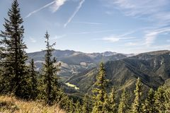 View to highest part of Nizke Tatry mountains from Slema hill above Liptovsky Jan in Slovakia. View to highest part of Nizke Tatry mountains with Dumbier and royalty free stock image