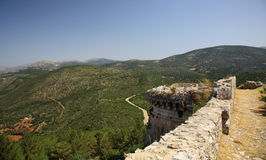 View to the hills from Ayios Georgios Castle Royalty Free Stock Photos