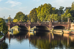 View to historic sandstone Moltke Bridge in Berlin stock images