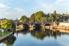 View to historic sandstone Moltke Bridge in Berlin stock image