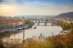 View to the historical bridges, Prague old town and Vltava river from popular view point in the Letna park or Letenske stock photo