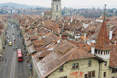 View to the historical buildings from the famous Clock tower in Bern, Switzerland. Royalty Free Stock Images