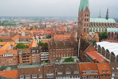 View to the historical buildings of Lubeck city, Germany. Royalty Free Stock Photography