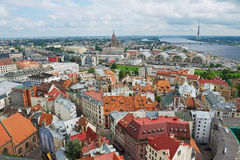 View to the historical buildings of Riga city, Latvia. Royalty Free Stock Image