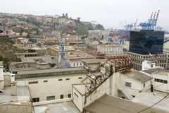 View to the historical center of the Valparaiso city, Chile. Royalty Free Stock Photography