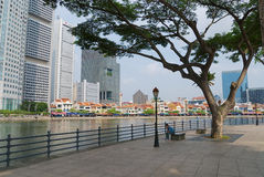 View to the historical quay in Singapore, Singapore. Royalty Free Stock Images