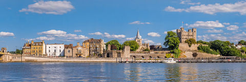 View to historical Rochester across river Medway royalty free stock images