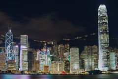 View to the Hong Kong modern buildings at night in Hong Kong, China. Stock Photography
