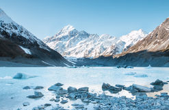 View to Hooker Glacier and mt. Cook Royalty Free Stock Photo