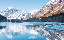 View to Hooker Lake and mt. Cook. Aoraki National Park, New Zeal Royalty Free Stock Photography