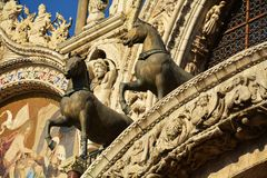 View to the horses of St. Mark's Cathedral, Venice Stock Image