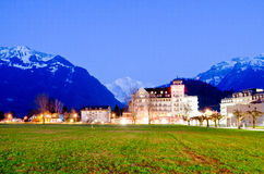View to a hotel and mountains Royalty Free Stock Photos