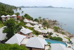 View to a hotel at the shore of Koh Samui island in Koh Samui, Thailand. Royalty Free Stock Photography