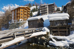 View to the hotels and historical wooden buildings in Zermatt, Switzerland. Stock Photography