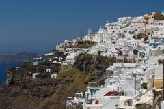 View to hotels of Imerovigli village, Santorini island Royalty Free Stock Photo