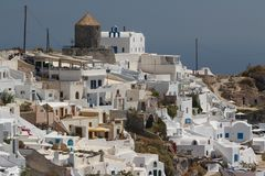 View to hotels of Imerovigli village, Santorini island Stock Photo