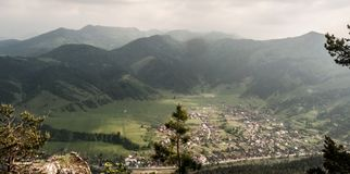 View to Hubova village with hills on the background from Havran hill in Velka Fatra mountains in Slovakia stock photo