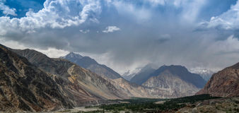 View to Hunza river and valley Pakistan royalty free stock photos