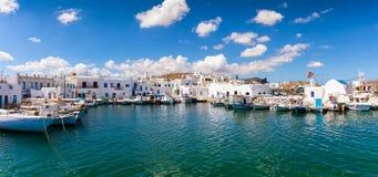 View to the idyllic fishing village of Naousa on the island of Paros Stock Image