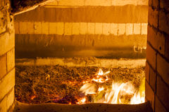 View to industrial coal burning stove. Royalty Free Stock Images