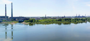 View to industrial part of Kemerovo city Stock Photos